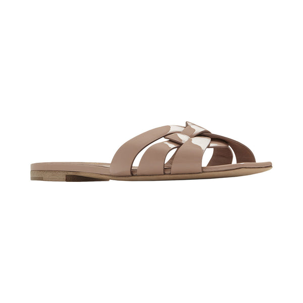 Tribute Flat Sandals In Patent Leather Nude