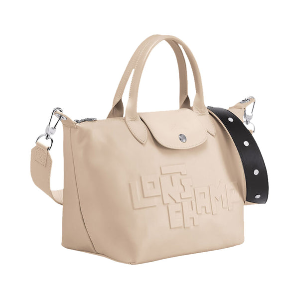 Le Pliage Cuir Top Handle Small Chalk Logo Embossed