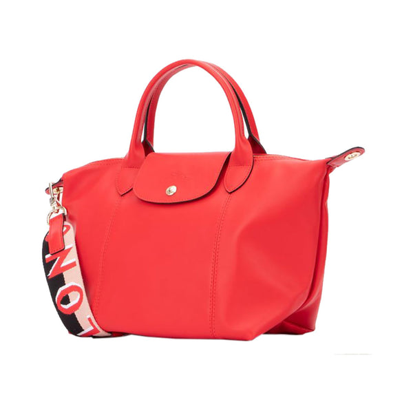 Le Pliage Cuir Webbing Small Red