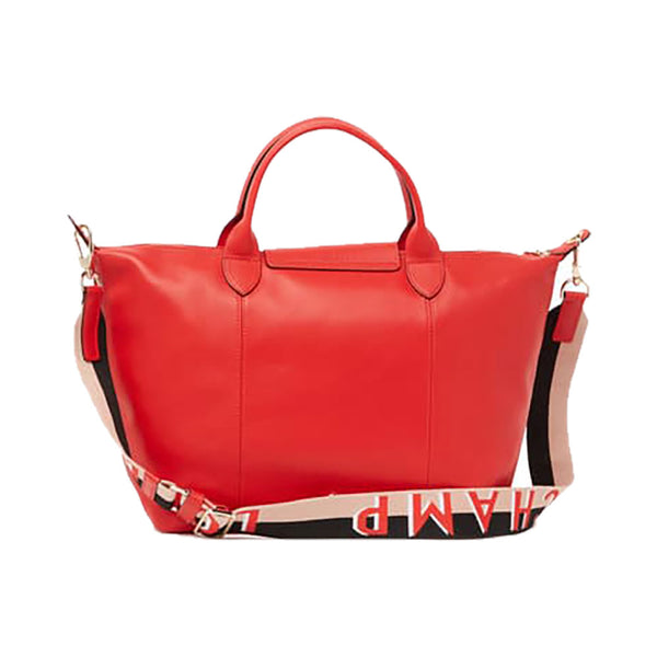 Le Pliage Cuir Webbing Medium Red