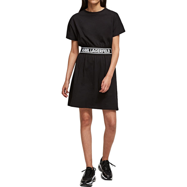 Logo Tape T-Shirt Dress Black