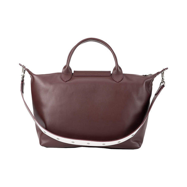 Le Pliage Cuir Medium Top Handle Logo Embossed Brandy