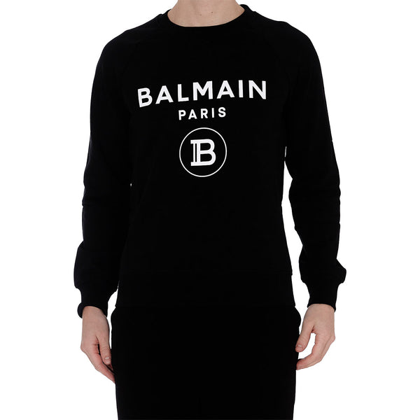 Black Cotton Sweatshirt with White Balmain Paris Logo