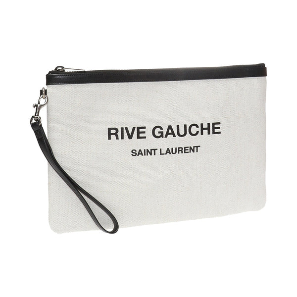 Rive Gauche Canvas Clutch White
