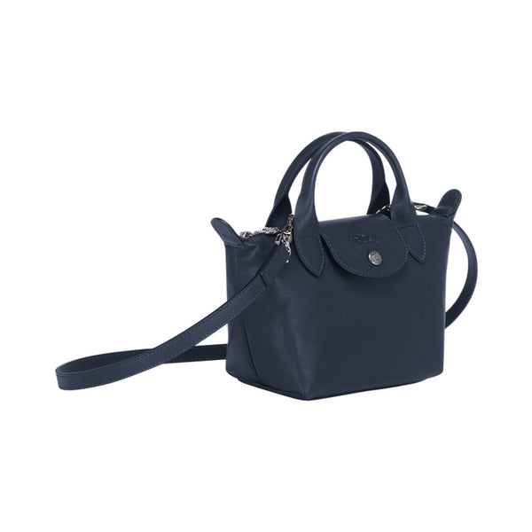 Le Pliage Cuir Mini Top Handle Navy