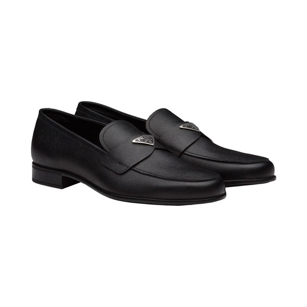 Saffiano Leather Loafers with Triangle Logo Black