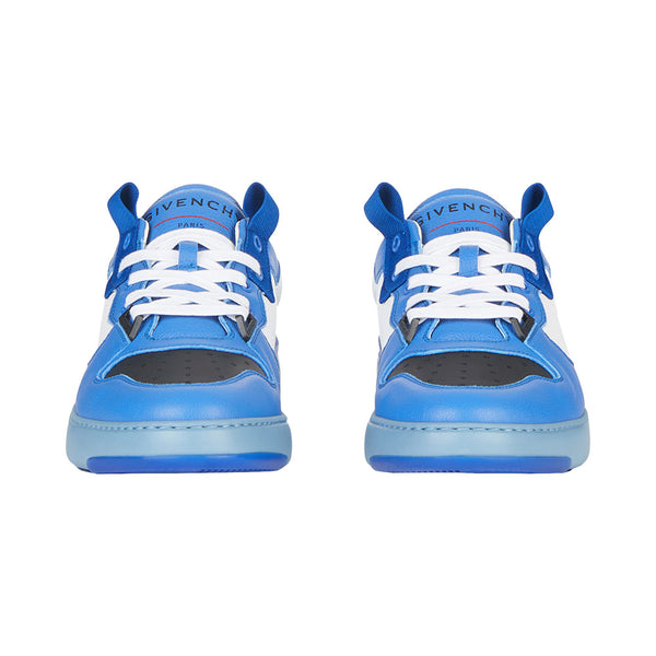Wing Low Three Tone Leather Sneakers Blue White