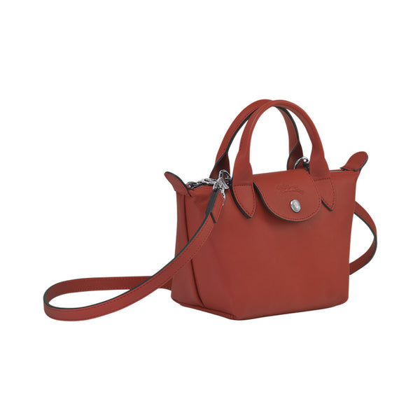 Le Pliage Cuir Mini Top Handle Sienna
