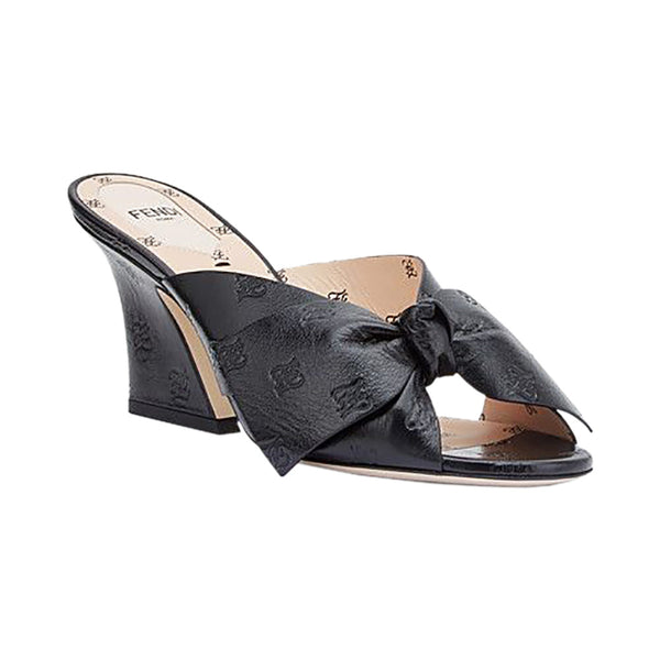 Sabots Sandal FF Karligraphy Black Leather 7.5cm