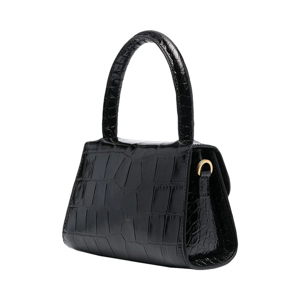 Mini Croco Embossed Leather Bag Black