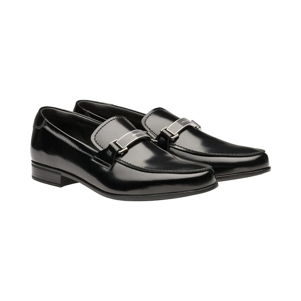 Brushed Leather Loafers Black