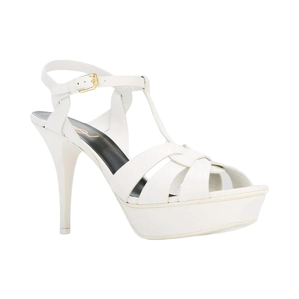Tribute Platform Sandals In Smooth Leather White