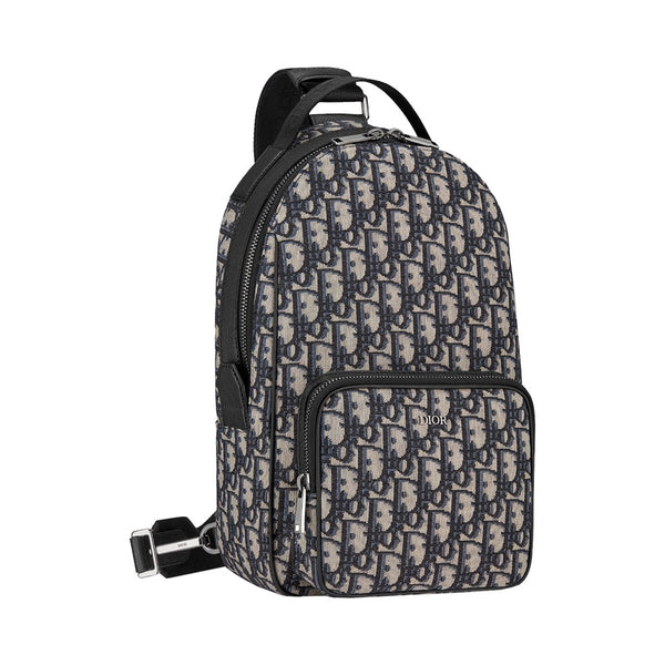 Oblique Crossbody Backpack Beige Black