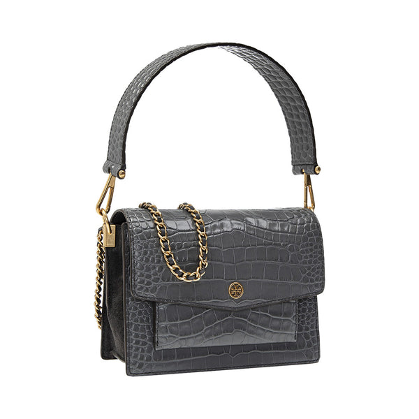 Robinson Croco Embossed Convertible Shoulder Bag Zinc