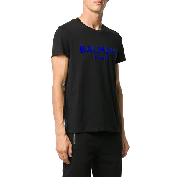 Logo Print Cotton T-Shirts Black Blue Man