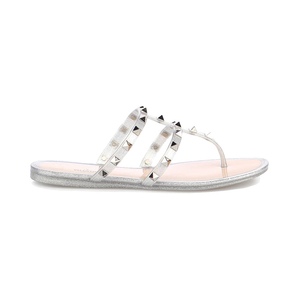 Thong Rockstud Sandal Jelly Argento