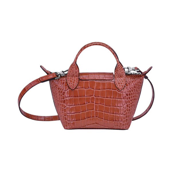 Le Pliage Cuir Mini Croco Top Handle Coral