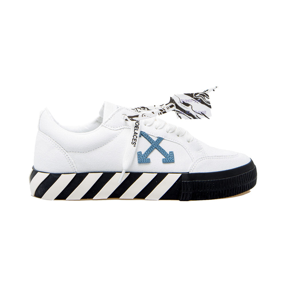 Low Vulcanized Sneaker White Blue Arrow