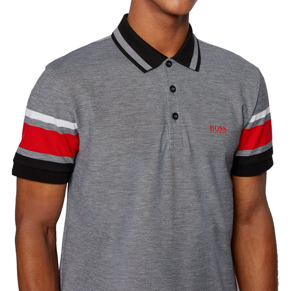Polo Shirt with Sleeve Stripes - Black