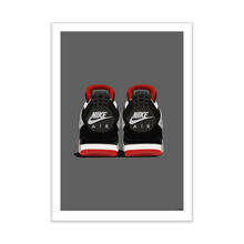 Load image into Gallery viewer, Air Jordan 4 'Bred' Backside Pair Sneaker Print