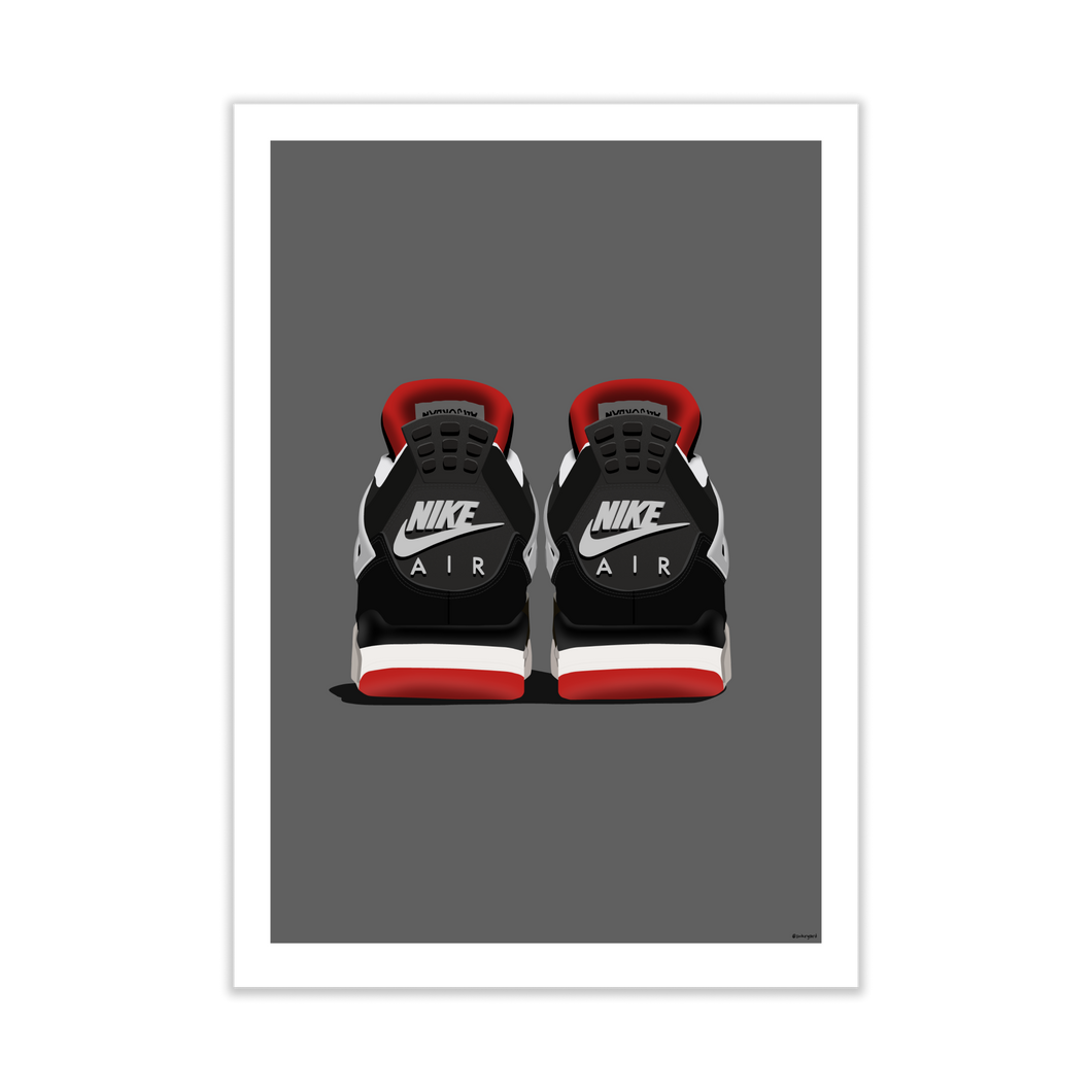 Air Jordan 4 'Bred' Backside Pair Sneaker Print