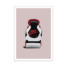 Load image into Gallery viewer, Air Jordan 4 'Fire Red' Backside Sneaker Print