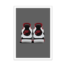 Load image into Gallery viewer, Air Jordan 4 'Fire Red' Backside Pair Sneaker Print