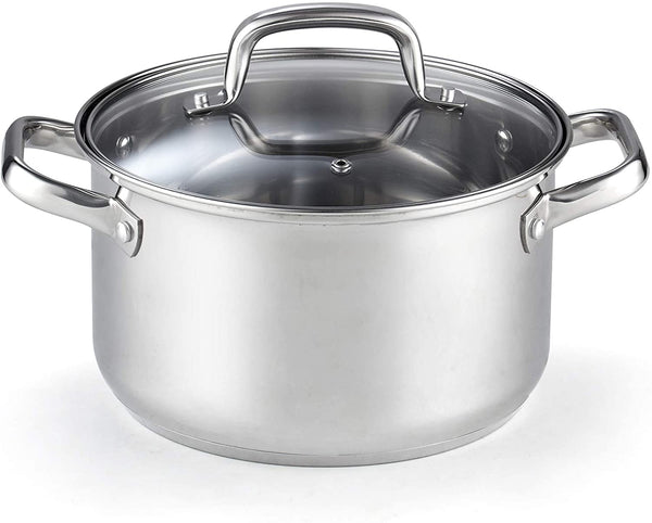 Cook N Home Lid 5-Quart Stainless Steel Casserole Stockpot,02609