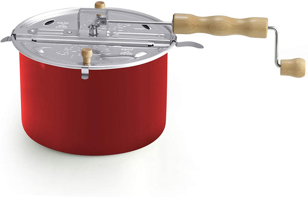 Cook N Home  02699  Stovetop Aluminum Popcorn Popper, 6 Quart, Red