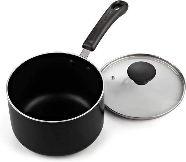 Cook N Home Nonstick Saucepan set, 1Qt and 2Qt with glass lid, Black (02702)