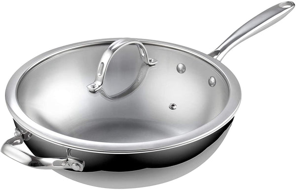 Cooks Standard 02595 Standard Stainless Steel Multi-Ply Clad Wok, 12-Inch with Glass Lid, Silver