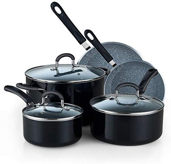 Cook N Home 8-Piece Nonstick Heavy Gauge Cookware Set, Black with Marble coating