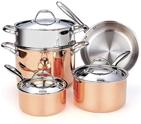 Cooks Standard Copper, Stainless Steel 8-Piece Multi-Ply Clad Cookware Set