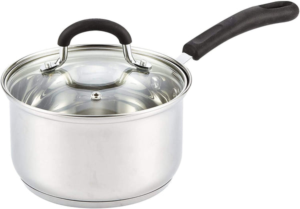Cook N Home Steel Stainless Saucepan, 1-QT and 2-QT
