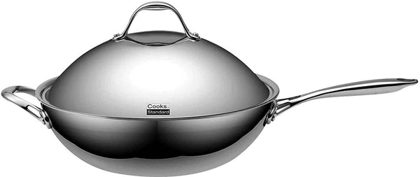 Cooks Standard Multi-Ply Clad Stainless Steel Wok with Dome Lid 13-inch 32cm
