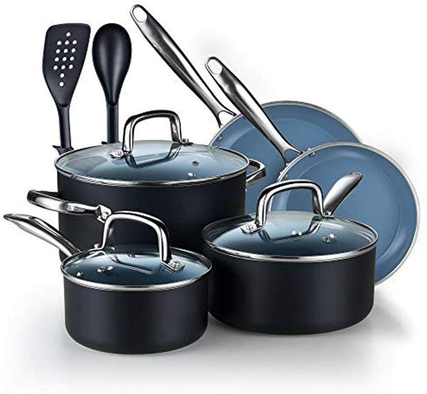 Cook N Home Ceramic Coating cookware Set, 10-Piece, Grey