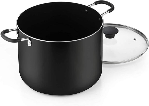 Cook N Home Nonstick Stockpot with Lid 10.5-Qt Black