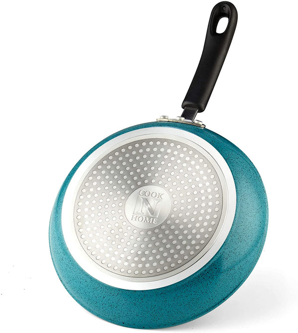 Cook N Home Nonstick Saute Fry Pan Set, 8, 9.5, and 11-Inch, Turquoise, 3-Piece