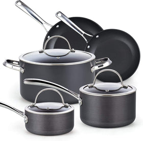 Cooks Standard 02709 Nonstick Hard Anodized Cookware Set, 8 Piece, Black