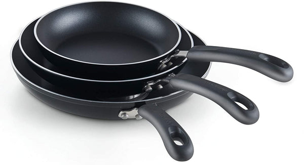 Cook N Home Nonstick Saute Skillet Fry Pan 3-Piece Set, 8 inch/9.5-Inch/11-inch
