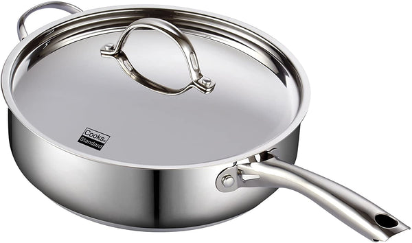 Cooks Standard Classic Stainless Steel Deep Saute Pan with Lid 5-Qt 11-inch
