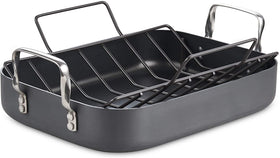 Cooks Standard Hard Anodized Nonstick Bakeware Roaster with rack 16-inch by 12-inch
