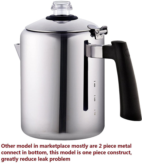 Cook N Home 8-Cup Stainless Steel Stovetop Coffee Percolator Pot Kettle, Tea
