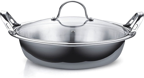 Cooks Standard Multi-Ply Clad Stainless Steel Tagine with 2 Handle and Extra Glass Lid, 4.5-Quart