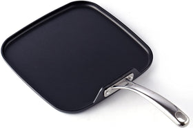 Cooks Standard Hard Anodized Nonstick Square Griddle Pan, 11 x 11-Inch, Black