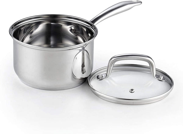 Cook N Home Lid 2-Quart Stainless Steel Saucepan, Silver