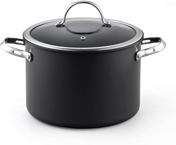 Cooks Standard 8 Quart Hard Anodized Premium Grade Nonstick Stockpot with Cover, Black