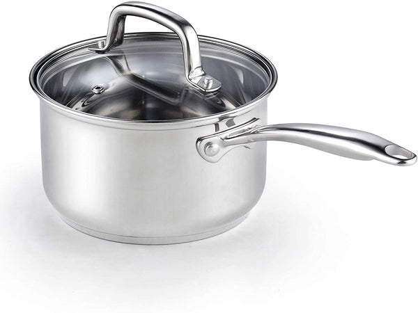 Cook N Home 2608 Lid 3-Quart Stainless Steel Saucepan, Silver
