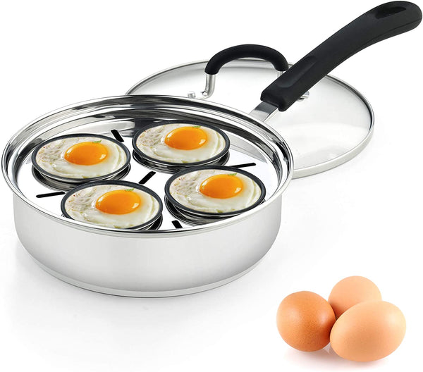 Cook N Home 4 Cup Stainless Steel Egg Poacher Pan 8