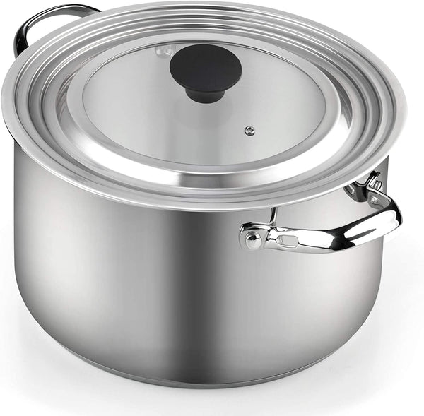 Cook N Home Stainless Steel with Glass Center Universal Lid fits 8, 10. 25, 11, & 12
